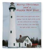Merry Christmas Lighthouse Fleece Blanket