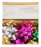 Merry Christmas Message With Colourful Bows Fleece Blanket