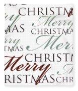 Merry Christmas Words Fleece Blanket