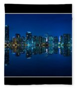 Miami Skyline Night Panorama Fleece Blanket