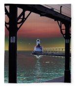 Michigan City Lighthouse 2 Fleece Blanket