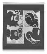 Mickey In Negative Black And White Fleece Blanket