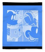 Mickey In Negative Light Blue Fleece Blanket