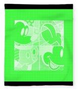 Mickey In Negative Light Green Fleece Blanket