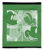 Mickey In Negative Olive Green Fleece Blanket