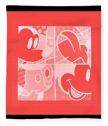 Mickey In Negative Red Fleece Blanket