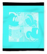 Mickey In Negative Turquois Fleece Blanket