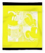 Mickey In Negative Yellow Fleece Blanket