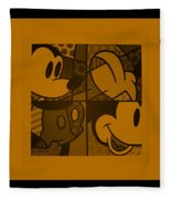 Mickey In Orange Fleece Blanket