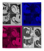 Mickey In Quad Colors Fleece Blanket
