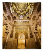 Mihrab And Ceiling Of Mezquita In Cordoba Fleece Blanket