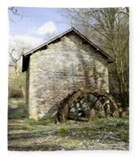 Mill And Water-wheel Near Ashford-in-the-water Fleece Blanket