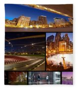 Millennium Park Photo Collage Fleece Blanket