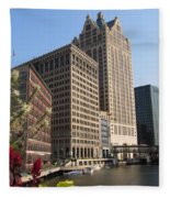 Milwaukee River And Skywalk Fleece Blanket