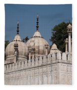 Minarets And Structure Of Pearl Mosque Inside Red Fort Fleece Blanket