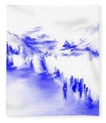 Minimal Landscape Monochrome In Blue 111511 Fleece Blanket