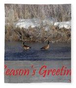 Mirrored Geese Season Greetings Fleece Blanket