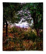 Mist Beyond The Apple Trees Fleece Blanket