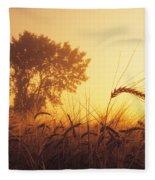 Mist In A Barley Field At Sunset Fleece Blanket