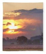 Misty Country Sunrise  Fleece Blanket