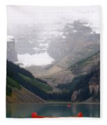 Misty Paddle - Lake Louise, Alberta Fleece Blanket