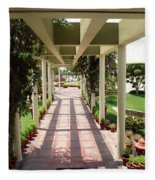 Mix Of Light And Shade Under A Partially Covered Pathway With Pillars Fleece Blanket