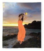 Model In Orange Dress Fleece Blanket