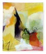 Modern Art With Yellow Black Red And Fanciful Clouds Fleece Blanket