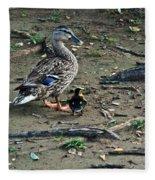 Mom And Duckling Fleece Blanket