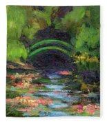 Momet's Water Lily Garden Toward Evening Fleece Blanket