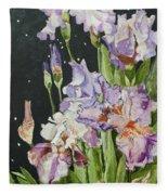 Mom's Night Iris Fleece Blanket