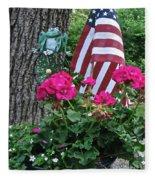 Mom's Pink Geranium  Fleece Blanket