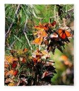 Monarch Butterfly Gathering Fleece Blanket