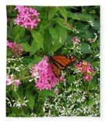 Monarch In The Garden   Fleece Blanket