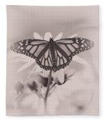 Monarch On Sunflower Fleece Blanket