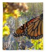 Monarch On The Dunes  Fleece Blanket