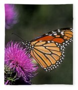 Monarch On Thistle 13f Fleece Blanket