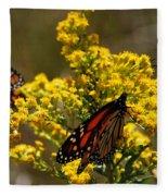 Monarchs On Yellow Fleece Blanket