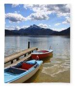 Mondsee Lake Boats Fleece Blanket