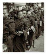 Monks In The Monastery Fleece Blanket