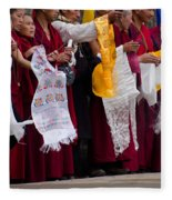Monks Wait For The Dalai Lama Fleece Blanket