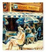 Montreal Cafe City Scenes Prince Arthur And Duluth Street Fleece Blanket