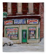 Montreal Corner Market Winter Scene Fleece Blanket