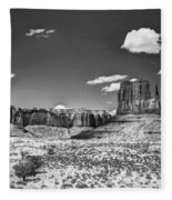 Monument Valley In Monochrome  Fleece Blanket