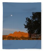 Moon Above Kissing Camels Fleece Blanket
