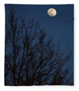 Moon And Trees Fleece Blanket