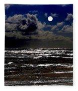 Moon Over The Pacific Fleece Blanket