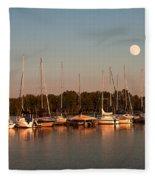 Moon Rises Over The Marina Fleece Blanket