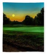 Moon Setting Over The Green Fleece Blanket