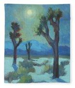 Moon Shadows At Joshua Fleece Blanket